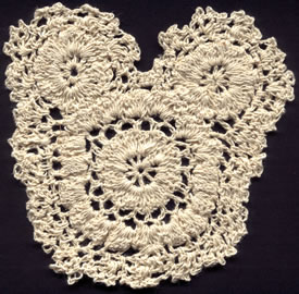 "5"" X 5"" Crochet Applique-Ivory - Applique"