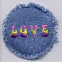 "2.25"" Denim Love Applique - Applique"