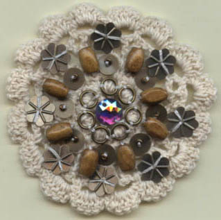"3.25"" Embellished Bead and Sequin Crochet-Natural - Applique"