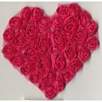 Sheer Flower Heart Applique - Applique