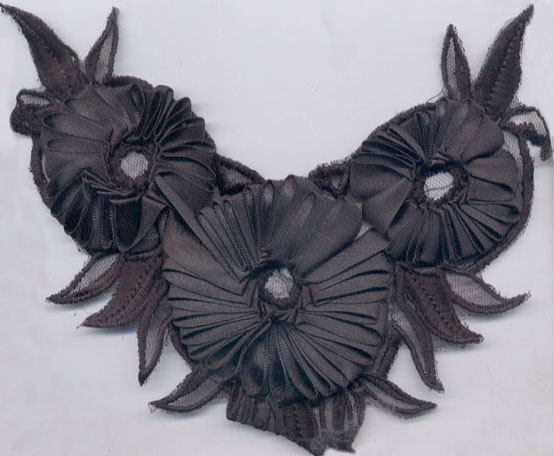 "6"" Satin Ribbon Re-Embroidered Flower Applique-Black - Applique"