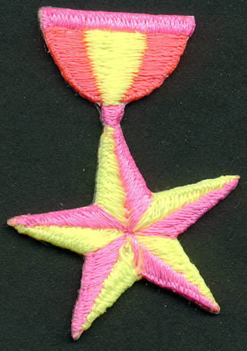 Star Medal Patch-Neon Pink/Cerise Pink/Yellow - Applique