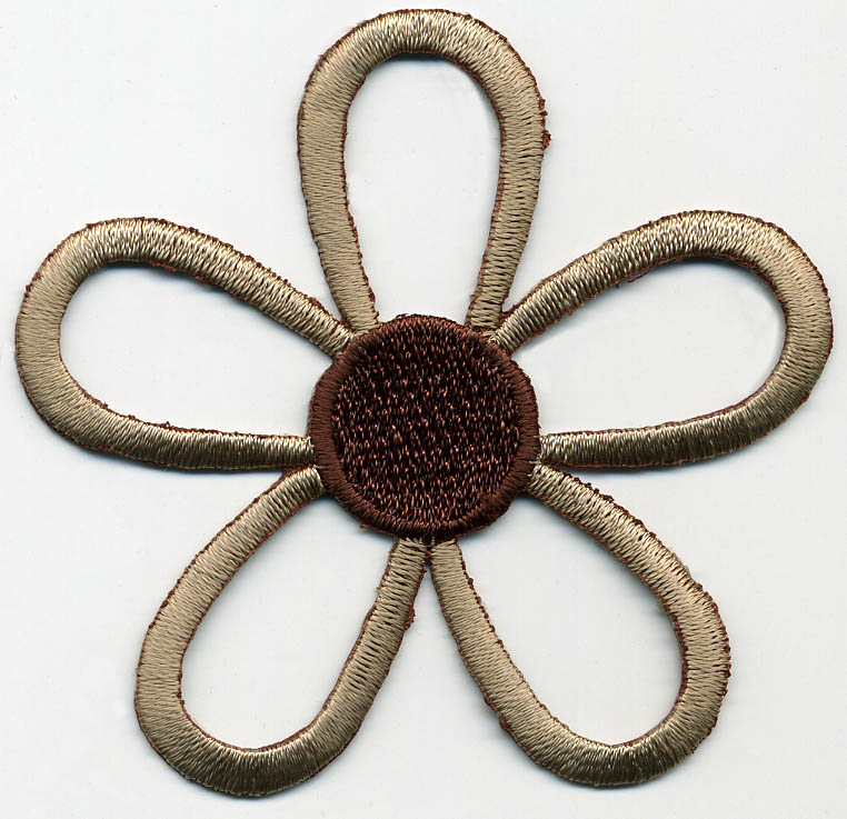 "2.5"" Rayon Open Daisy Patch-Taupe/Sea - Applique"