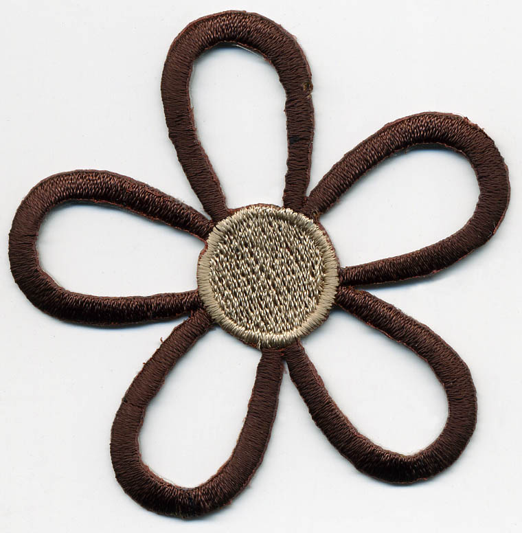 "2.5"" Rayon Open Daisy Patch-Brown/Tan - Applique"