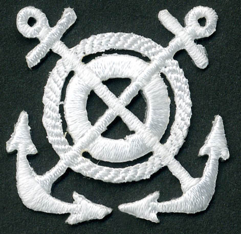 Round Nautical Sea Rope With Crossed Anchors Patch Applique-White - Applique