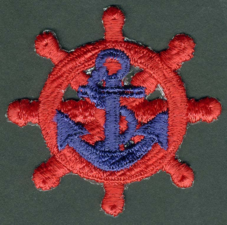 Red Nautical Ship Wheel With Royal Blue Anchor Patch Applique - Applique