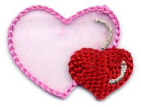 "1+1/2"" Heart Applique-Pink/Red/Silver Combo - Applique"