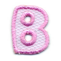 "1+1/4"" Letter ""B""-Pink/White Combo - Applique"