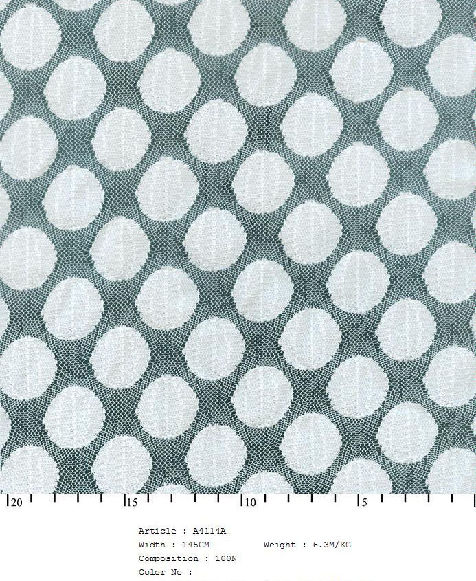 "58/60"" Embroidered Dot Fabric on Net-White - All Over Fabric"