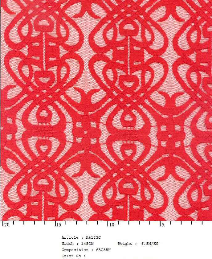 "58/60"" Embroidered Geometric Fabric on Net-Orange - All Over Fabric"