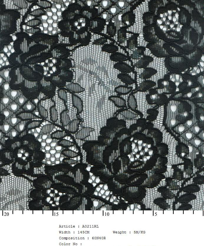 "58/60"" Embroidered Floral Rose Fabric on Net-Black - All Over Fabric"