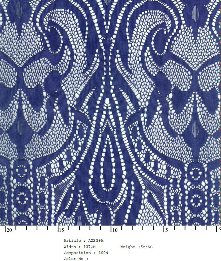 "58/60"" Embroidered Tear Drop Fabric on Net-White/Blue Combo - All Over Fabric"