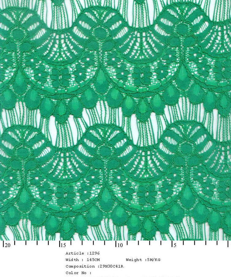 "58/60"" Embroidered Floral Scallop Fabric on Net-Green - All Over Fabric"