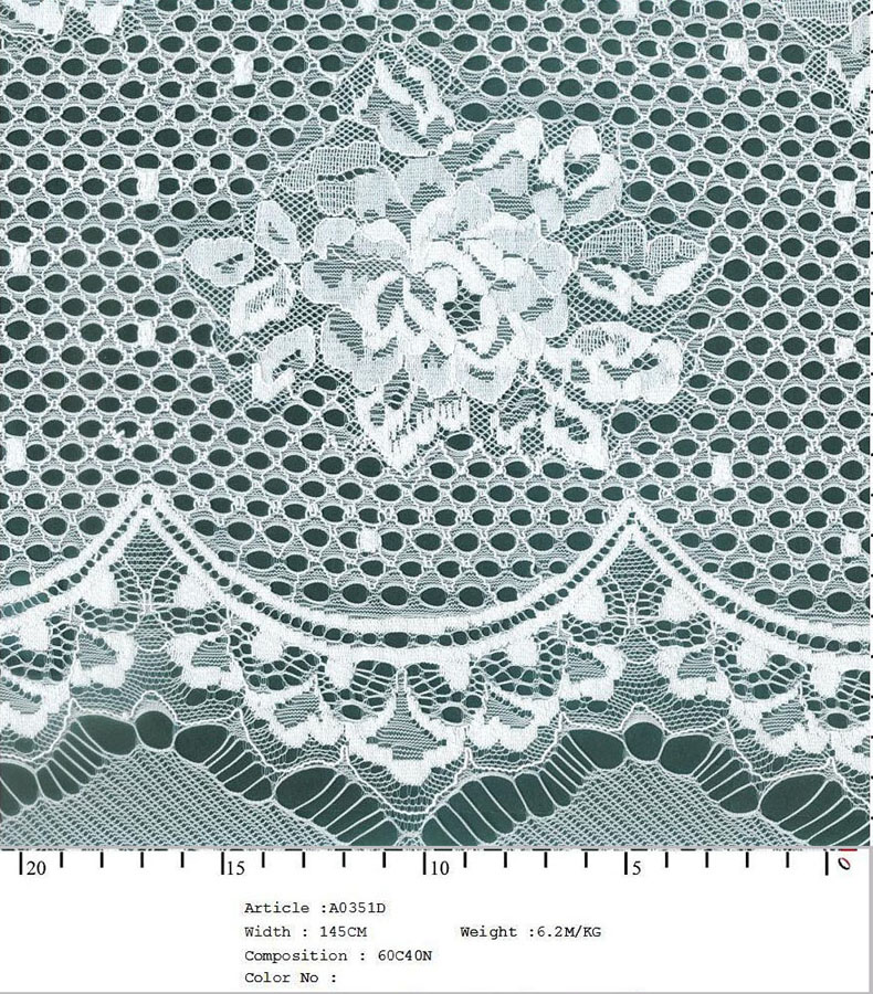"58/60"" Embroidered Floral Scallop With Dots Fabric on Net-White - All Over Fabric"