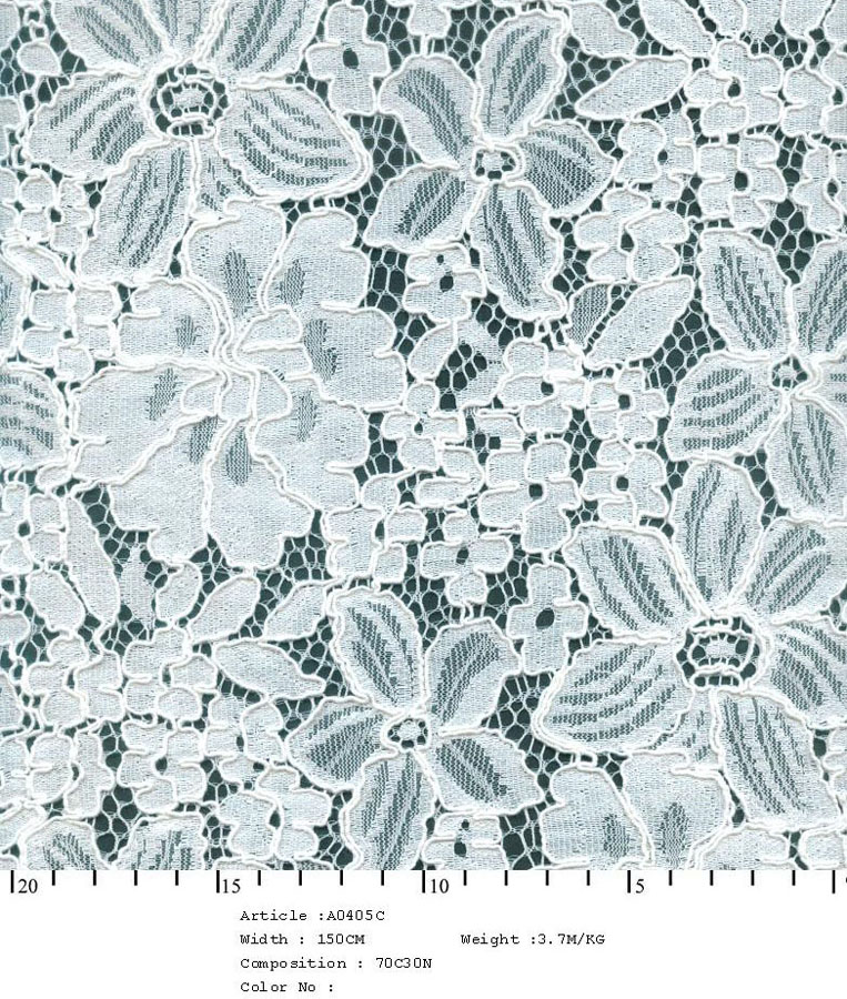"58/60"" Embroidered Floral Bouquet Fabric on Net-White - All Over Fabric"