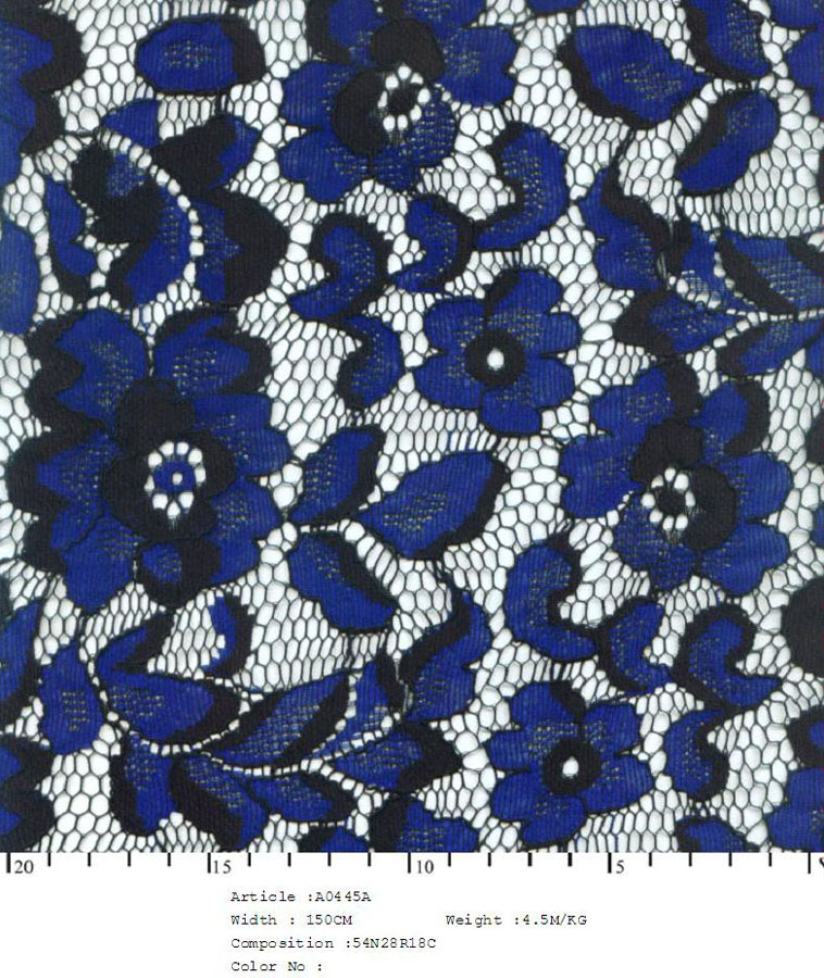 "58/60"" Embroidered Floral Daisy Fabric on Net-Blue/Black Combo - All Over Fabric"