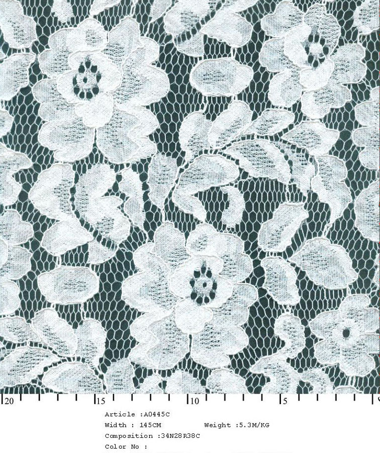 "58/60"" Embroidered Floral Daisy Fabric on Net-White - All Over Fabric"