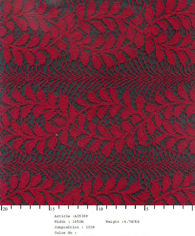 "58/60"" Embroidered Leaf Fabric on Net-Red - All Over Fabric"