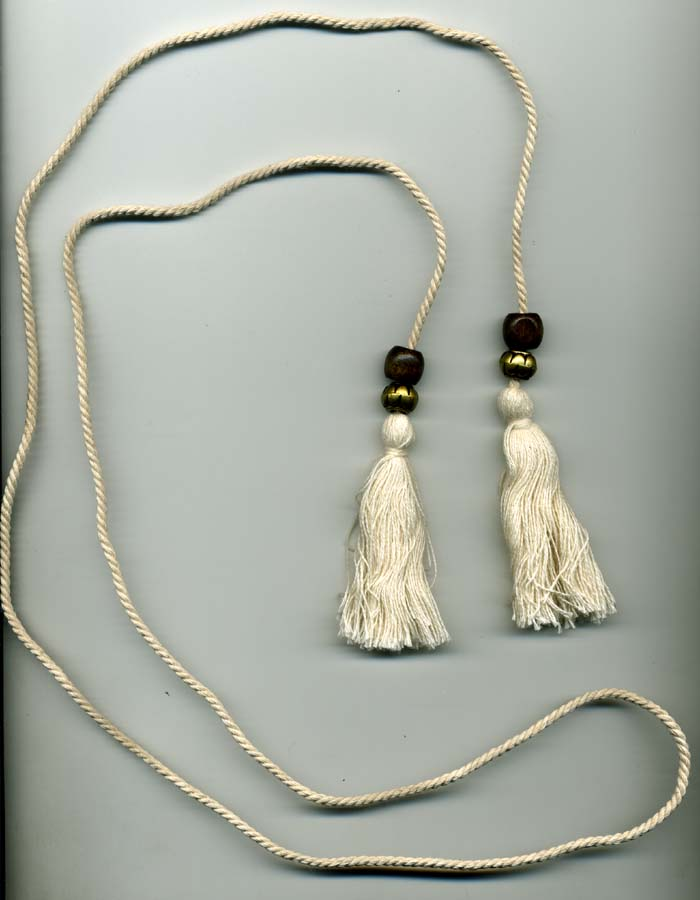 "3"" Cotton Tassels with Two Beads on 60"" Twist Cord-Ivory - Tassels on Cord"