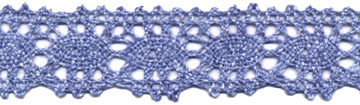 "1 3/16"" Cotton Cluny Ciardi Edge Lace-Blue/White - Cluny Lace"