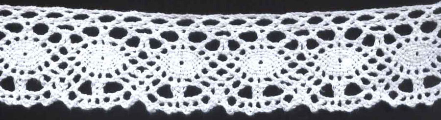 "1 5/8"" Cotton Cluny Contarini Edge Lace-White - Cluny Lace"