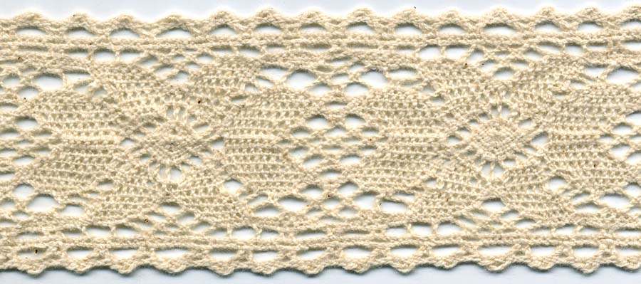 "1 5/8"" Cotton Cluny Daisy Galloon Lace-Natural - Cluny Lace"