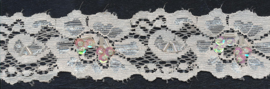 "2"" Beaded And Sequin Stretch Lace Edge-White Combo - Bridal Lace"