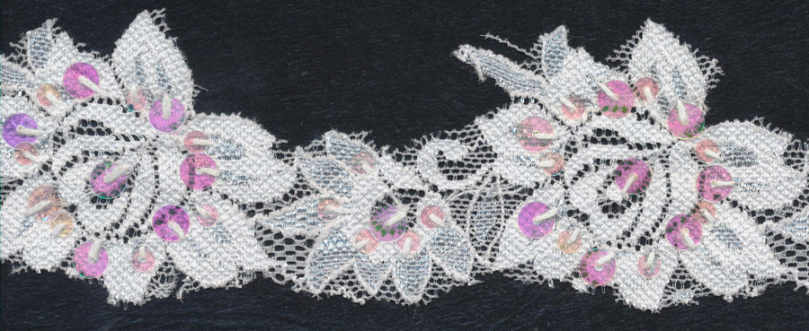 "2.75"" Beaded And Sequin Floral Stretch Lace Scallop-White Combo - Bridal Lace"