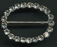 "1.58"" LEAD FREE Oval Slider Buckel-Crystal Glass Stones/Silver Slider - Sliders"