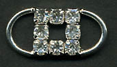 "1"" Square Center Rhinestone Slider Buckel-Crystal Glass Stones/Silver Slider - Sliders"