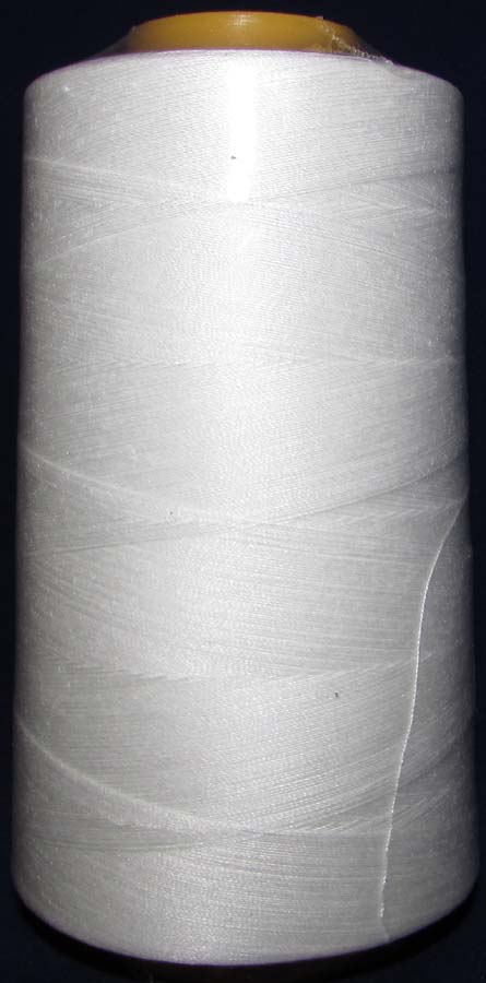 100% Spun Poly T27 (130 gram cone) Sewing Thread-White - 130 Gram Cone