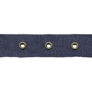 "1"" Width Tape With 1"" Spaced Eyelets - Denim Tape, Antique Brass Eyelets"