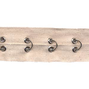 "1.5"" Width Twill Tape With Rings and Eyelets - Natural Twill Tape, Nickel Rings and Eyelets"