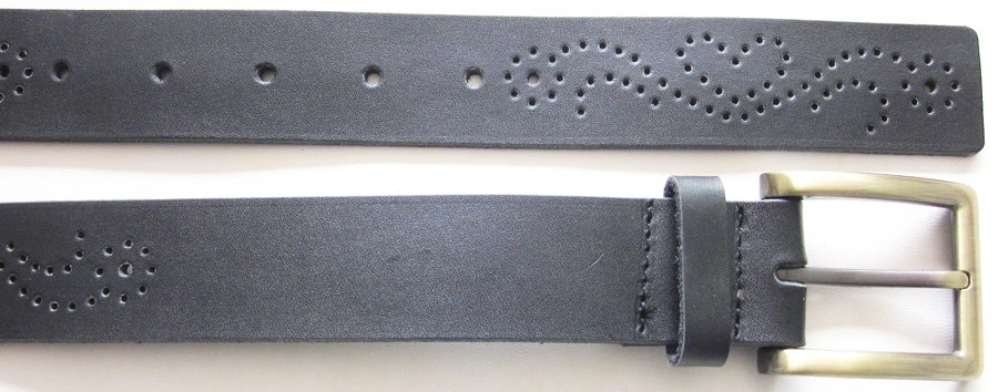 Faux Leather Belt With Tooling-V-1352-1501