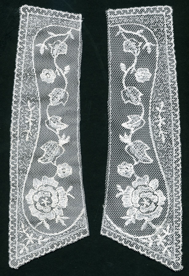 "10"" X 3"" Embroidered Net Collar Pair-White"