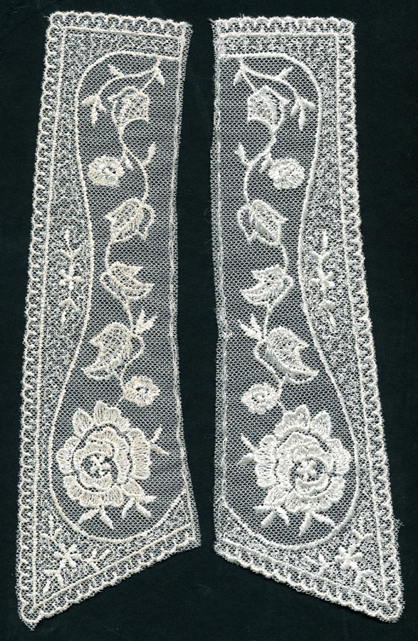 "10"" X 3"" Embroidered Net Collar Pair-Ivory"