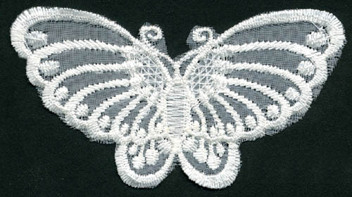 "3""+3/4"" X 2""+1/4"" Embroidered Butterfly-Ivory"