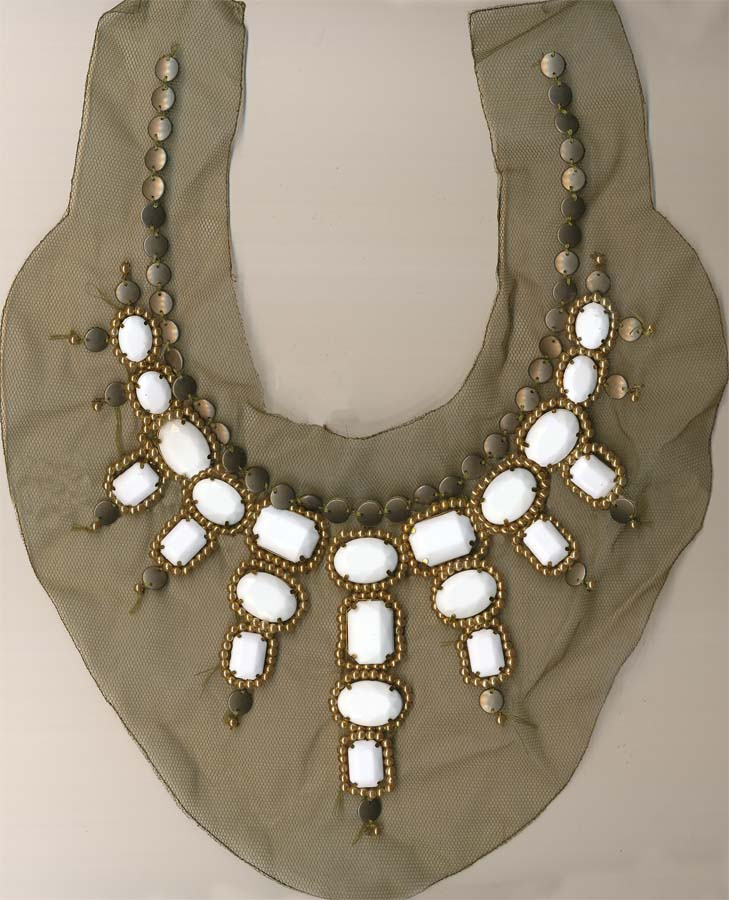 "14.75"" X 11.75"" Collar With Arcylic Stones And Metal Findings-Olive/Ivory/Antique Brass"