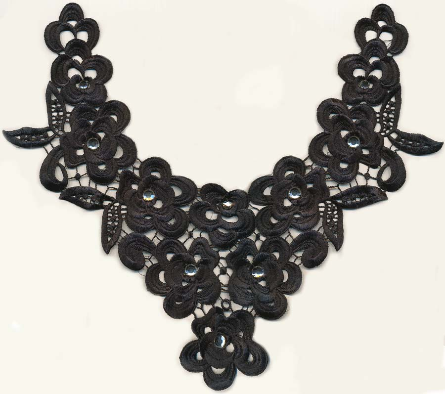 "13"" Rhinestone and Embroidered Yoke-Black/Clear Combo"