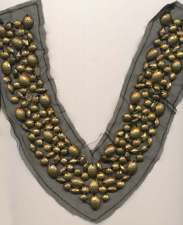 "10.5"" X 3"" Studded Collar-Gold On Black Mesh"