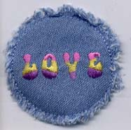 "2.25"" Denim Love Applique"
