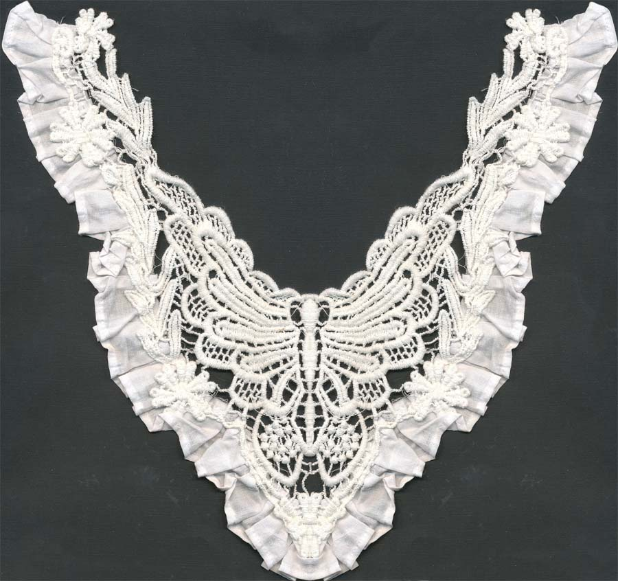 "10"" x 7"" Embroidered Lace Ruffel Collar-White"