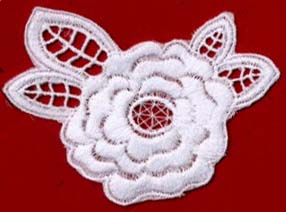 "3+3/4"" Cotton Floral Applique-White"