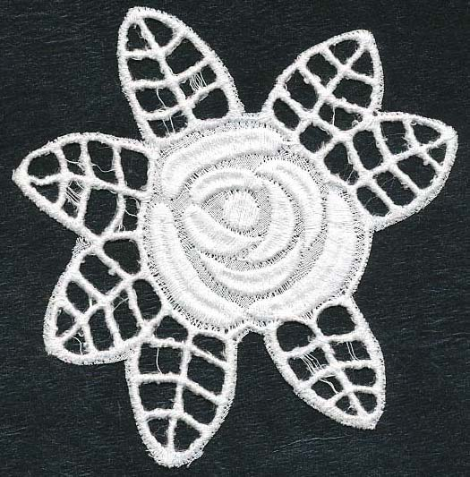 "3.75"" Cotton Eyelet Flower-White"