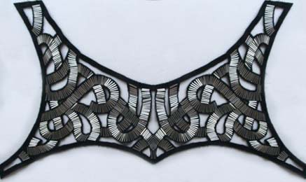 Beaded Metallic Swirl Pattern Yoke Applique-Silver/Black