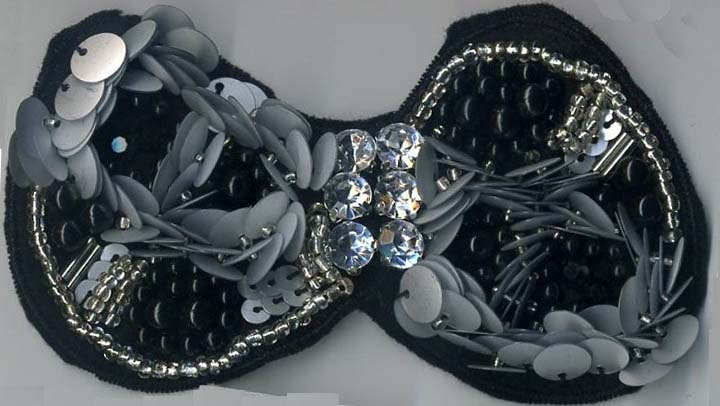 "4"" Sew-on Beaded Rhinestone Sequin Bowtie-Black/Silver Combo"