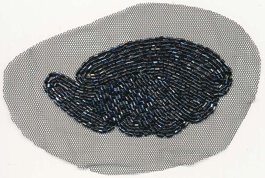 "3"" Sew-on Bugle Bead Geometric-Midnight on Black Mesh"