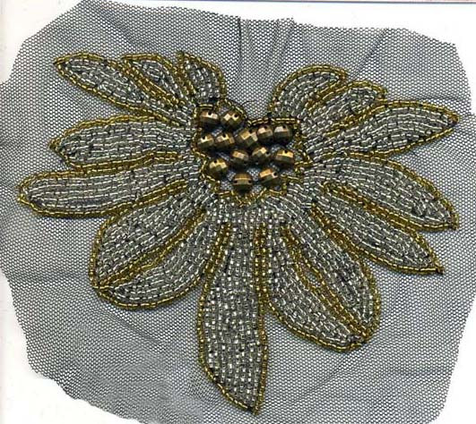 "6+1/4"" X 5"" Sew-on Floral Beaded Applique-Gold/Silver Combo"