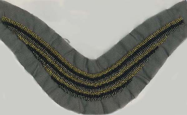 "17"" X 3.5"" Bugle Bead Applique-Gold/Silver/Black Combo"