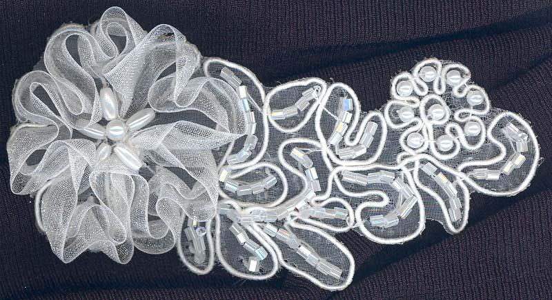 95mm Sheer Embroidered and Beaded Floral Applique